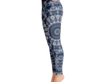 Leggings Yoga Dark Blue - Mandala Yoga Pants, Printed Yoga Tights, Dark Blue Leggings, Fashion Leggings, Womens Stretch Pants