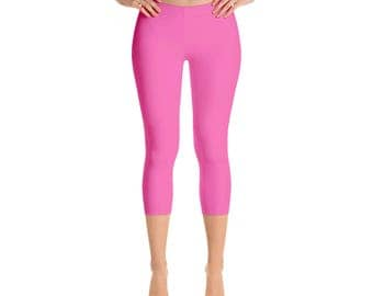 Capris - Hot Pink Leggings, Womens Yoga Clothes, Workout Yoga Pants