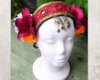 ATS Headdress, Tribal Belly Dance Headdress, Tribal fusion Headdress with mirrors and silk flowers