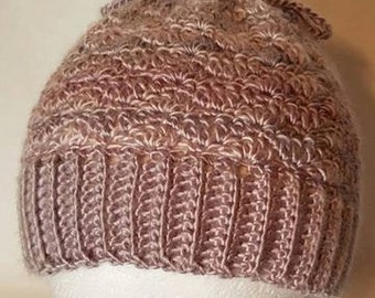 Child Size Messy Bun Beanie Hat convertible Cowl in Pearly