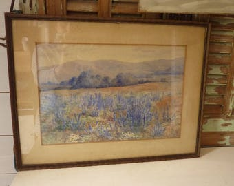 watercolor painting very old painting South of France Lavender Charles E. Luton Gallery