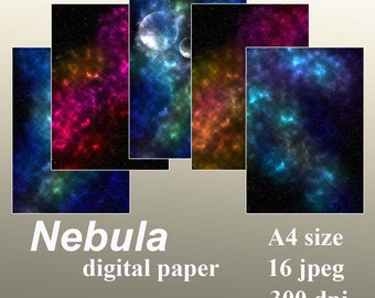 Nebula Digital Paper Galaxy Instant download starry night background for Personal and Commercial Use