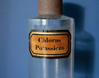 Large Antique French Apothecary Chemical Chemistry Glass Bottles. Pharmacy, chemist jar. Chloras Potassicus