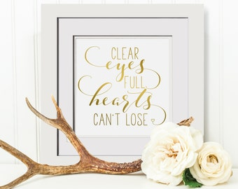 Clear Eyes Full Hearts Cant Lose|Friday Night Lights Quote|Framed Office Print|Football Mom Gift For Athlete|Strength Quote Art|Coach Gifts