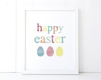 Happy Easter Printable Wall Art 8x10, 5x7, 11x14, Easter Digital Print, Easter Sign, Spring Printable, Spring Print