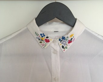 Embroidered Collar Shirt - White
