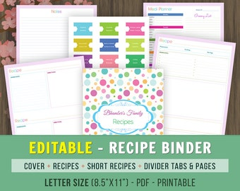 Editable Recipe Book Binder, Letter Size, Planner Pages, Cook Book, Editable Recipe Book, Recipe Binder Printable,Recipe Kit, Kitchen Book