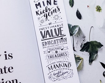 Education Bookmark, Teacher Gift, Baha'i Quote, Gift for Reader, Hand-lettering Bookmark, Book Lover Gift