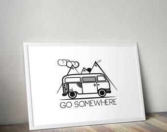 VW Campervan poster print - Minimalist vanlife poster print, campervan, T2 bay window, travelling poster.
