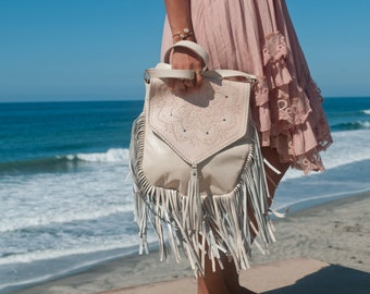 Leather Bag * Creamy Leather Purse * Mandala Leather Purse * Mandala Leather Bag * Shoulder Bag * Fringe Bag * Fringe Leather Purse *BP004
