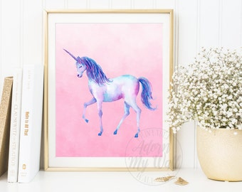 Unicorn Printable, Instant Download, Unicorn Print, Unicorn Wall Art Decor, Girls Nursery, Be a Unicorn, Watercolour Unicorn Gift, Poster