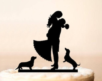 wedding cake topper silhouette with dogs groom silhouette etsy 26501