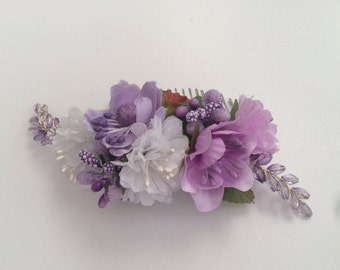Decorated hair comb, wedding hairpiece, purple rose and beads garland hair comb, flower girl, bridal, bridesmaid headpiece