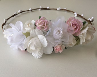 Flower crown, wedding rose crown, white soft pink rose and pip berries tiara, flower girl crown,toddler flower headband
