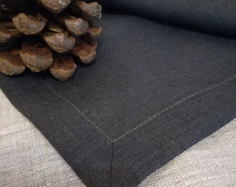 Dark Grey Linen Tablecloth with cool charcoal shade - Wedding Linen Tablecloth - Elegant Linen Tablecloth - Wedding Decoration