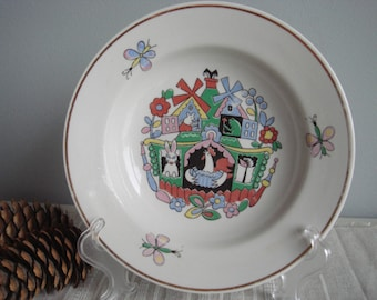 Soviet Vintage Children's Soup Plate with Russian Fairy Tale Decor, Children's Tableware
