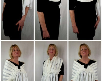HANDMADE ivory, nuno felt scarf, felted wrap made with silk and lace (ideal for a wedding)