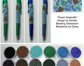 Green Seaturtle by Sarahs Beading Obsession beaded pen kit (pattern sold separately)