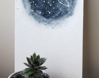 Taurus zodiac watercolor painting