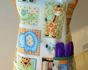 Child's cooking apron, child's reversible cotton apron, Zoo Animals apron, medium child apron, kids apron, blue elephant apron, child apron