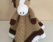 Crochet Horse Lovey Snuggle Security Travel Blanket