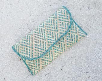 Straw clutch / Everyday clutch bag / Small vegan handbag / Girlfriend gift
