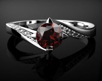 Garnet Engagement Ring White Gold Garnet Engagement Ring Red Gemstone Engagement Ring White Gold Garnet Ring January Birthstone