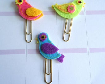 Bird paper clip, bookmark for planner, agenda, calendar or scrapbook