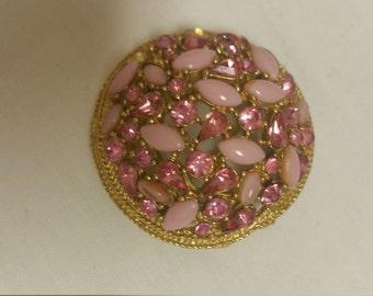 Vintage,Art Mode,Pink,Opal Brooch,Designer Art mode,Pink Rhinestone,Pink Brooch,1960s Jewelry,Pink Art Mode pin,Pink rhinestone pin AS IS