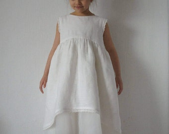 Flower Girl Dress, Linen Girl Dress, Vintage Girl Dress, Vintage Style, Rustic Girl Dress, Wedding Girl Dress