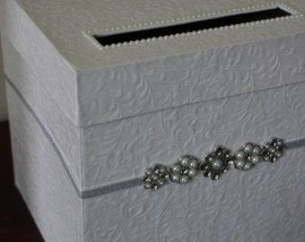 Elegant Wedding Card Box! Ivory Card Box With Bling Detail, Old Hollywood Glam Card Box!