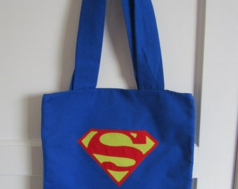 Superman Handmade Lined Costume Tote Bag - DC - Comic Bag / Shopping Bag