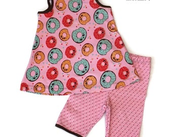 Little Girls Donut Summer Outfit size 2T/3T - Toddler Dress and Shorts - Girls Boutique Summer Clothing - Donut Shorts Set - READY TO SHIP
