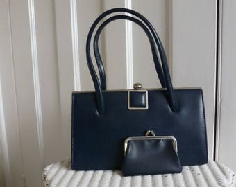 Vintage 1960s Navy Kelly Bag and coin purse