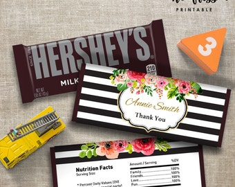 Black and Gold Stripe Candy Bar Label | Hershey Chocolate Wrappers | Editable | Printable | Instant Download