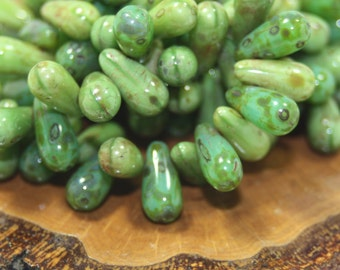 Czech Glass Beads, Green Drops, 25 Beads
