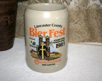 1983 Limited Edition BierFest Stein//Gertz Stein in W Germany//Lancaster County BierFest//Vintage Stein