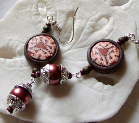 Flower pearl earrings - silver cap - polymer clay beads - long kaleidoscope - dark rose pearls - fantasy - garden design - Lizporiginals