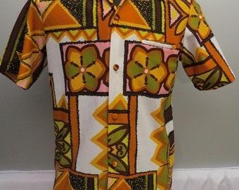 Vintage Hawaiian Aloha Shirt - Pastel Tribal Pattern - By Sears Fashion - Men M