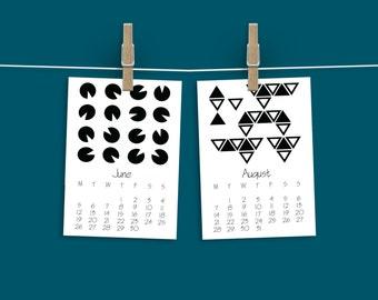 2017 Calendar, Geometric, Printable, Desktop Calendar, Monthly Planner, Downloadable, Organizer, Hanging, Black and white, Minimal, Digital