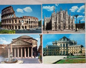 12 vintage postcards with Italian monuments: Rome, Turin, Milan, Pisa