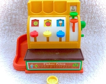Vintage Fisher Price 1974 Cash Register Complete With One Coin #926 Works 70s 1970s CLassic ORiginal Retro Toys Plastic Pretend