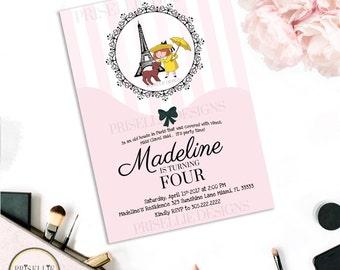 Madeline Birthday Invitation, Madeline Baby Shower Invitation, Paris Invitation, Paris Birthday Invitation, Eiffel Tower Invitation