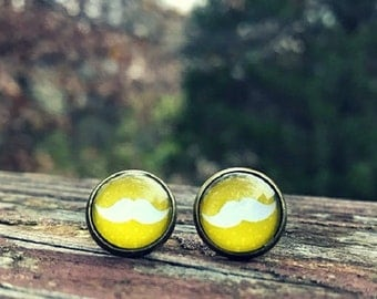 Citron mustache earrings -  12mm glass nickel-free earrings