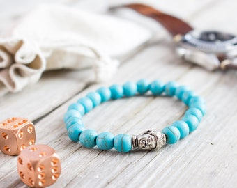 8mm - Turquoise beaded Buddha head stretchy bracelet, made to order yoga bracelet, mens bracelet, womens bracelet