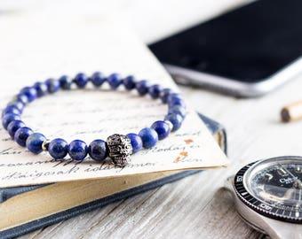 6mm - Blue lapis lazuli beaded stretchy bracelet with gun metal skull, gray bracelet, natural bead mens bracelet, gemstone bracelet