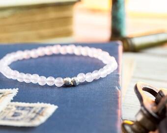 4mm - Rose quartz beaded stretchy bracelet with S925 silver beads, made to order mens beaded bracelet,mens bracelet, womens bracelet