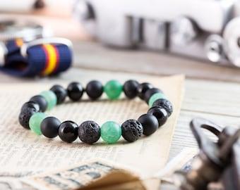 8mm - Black onyx, matte black onyx, crackled green agate & lava stone beaded stretchy bracelet, bracelet, mens bracelet, womens bracelet
