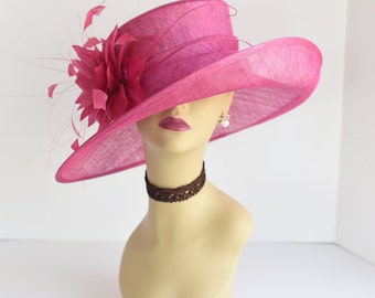 L17 New Kentucky Derby, Church, Wedding, Easter, Tea Party Wide Brim with feather flower Sinamay Hat ( Fuschia )