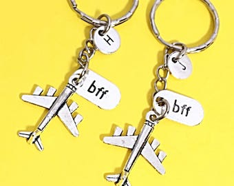 Custom bff keychain, promise bff keychain, bff promise charm, initial charm, initial keychain, personalized, Birthday gift for best friend